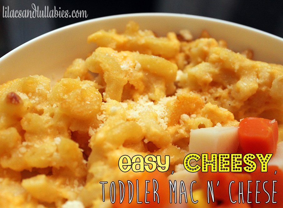 Easy Cheesy Toddler Mac n Cheese Closeup -  Super simple and delicious Macaroni & Cheese that parents will love too! www.lilacsandlullabies.com